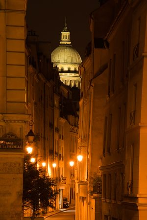The illuminated dome of the Pantheon over