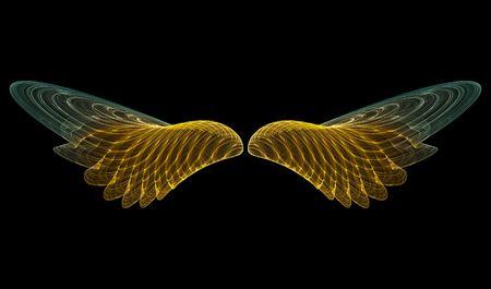 angel 3d: 3D rendering of golden angel wings