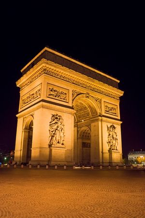 triomphe: The Arc de Triomphe at night - Charles de Gaulle square,  Paris, France