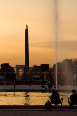 concorde: Ancient egyptian obelisk on the Concorde square at dusk - Paris, France Stock Photo
