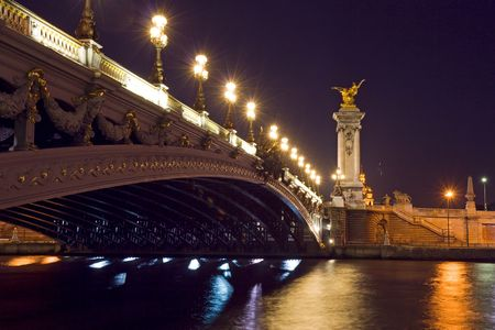 iii: The Alexander III bridge at night - Paris, France Stock Photo