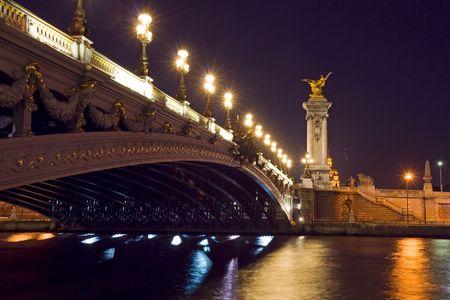 The Alexander III bridge at night - Paris, France Stock Photo