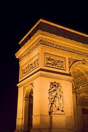 charles de gaulle: The Arc de Triomphe at night - Charles de Gaulle square,  Paris, France