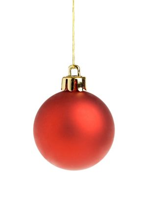 Single red Christmas ball, isolated on a white background
