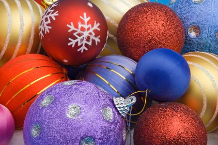 spreaded: Colorful Christmas balls spreaded all over the frame Stock Photo