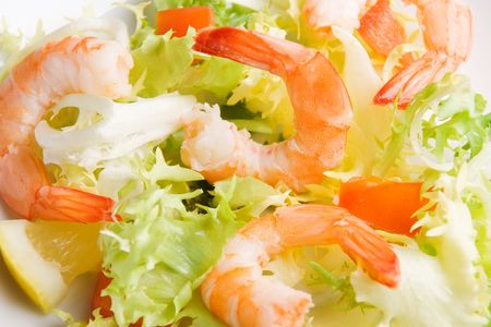 gambas: Closeup view of a shrimp salad in a white plate (shallow DOF)