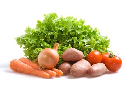 Various fresh vegetables on a white background Stock Photo