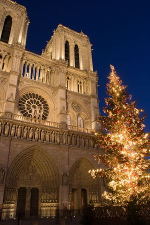 prayer tower: A Christmas tree in front of Notre-Dame cathedral - Paris, France Stock Photo