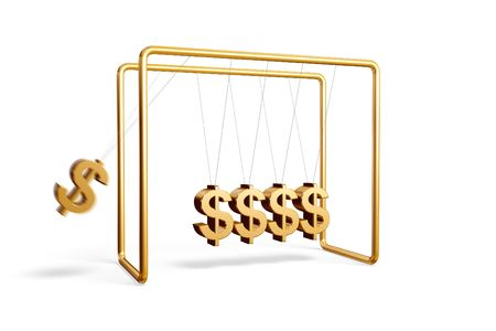 Newtons cradle with dollar symbols isolated on a white background Stock Photo