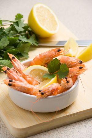 Closeup shot of shrimps in an appetizer cup (shallow DOF)