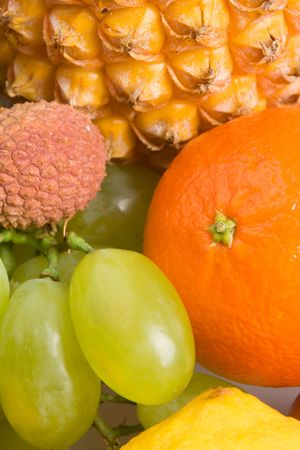 Close up view of various fresh fruits photo