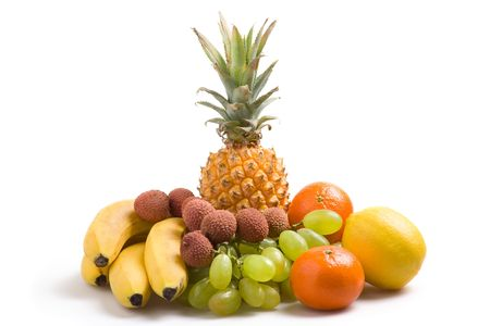 Various fresh fruits on a white background Stock Photo - 759805