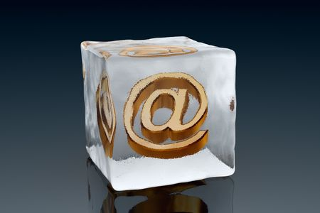 arobase: A golden AT symbol frozen inside an ice cube (3D rendering) Stock Photo