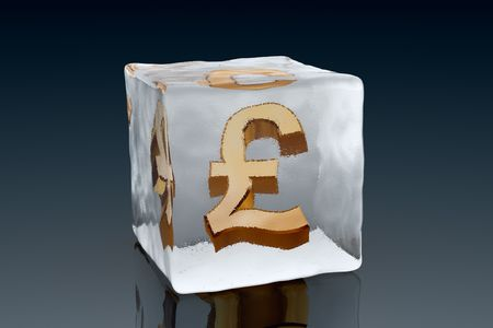 british money: A golden Pound symbol frozen inside an ice cube (3D rendering)
