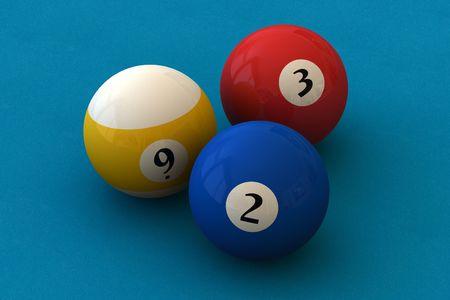 poolball: Three pool balls on a blue billiard table (3D rendering)