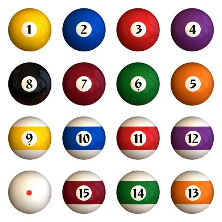 Sixteen pool balls isolated on a white background (3D rendering) Stock Photo