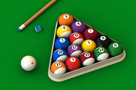 Racked pool balls, a cue stick and a pool chalk block on a green table (3D rendering)