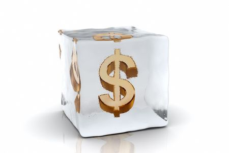 A golden Dollar symbol frozen inside an ice cube (3D rendering) Stock Photo