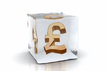 A golden Pound symbol frozen inside an ice cube (3D rendering)