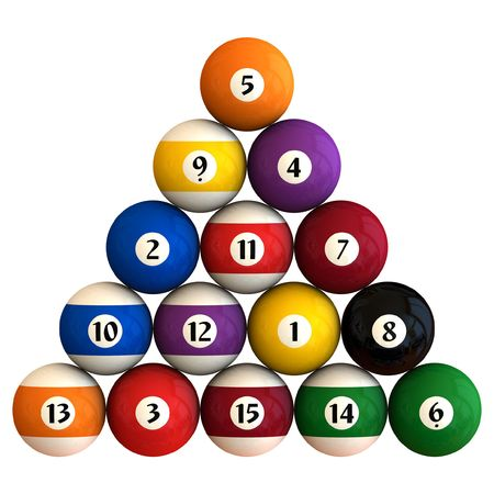 cue ball: Fifteen pool balls racked in a triangle shape (3D rendering)
