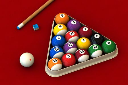 Racked pool balls, a cue stick and a pool chalk block on a red table (3D rendering)