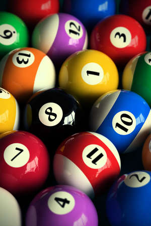 cue ball: 3D rendering of colorful pool balls (shallow DOF - focus on the 8 ball)