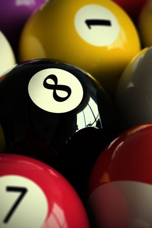 poolball: 3D rendering of colorful pool balls (shallow DOF - focus on the 8 ball)