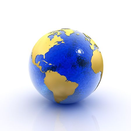 environmentalism: Our planet earth made of blue glass and gold foil (3D rendering)