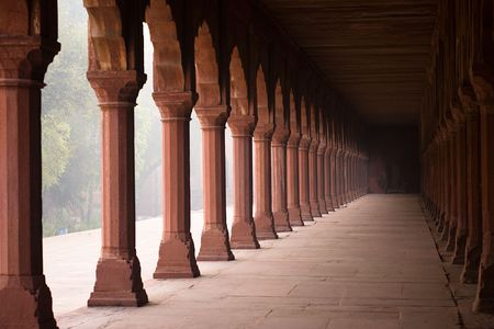 Entrance corridor to the Taj Mahal in the early morning fog - Agra, Uttar Pradesh, India