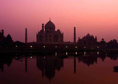 Sunset view of the Taj Mahal reflecting in the Yamuna river - Agra, Uttar Pradesh, India