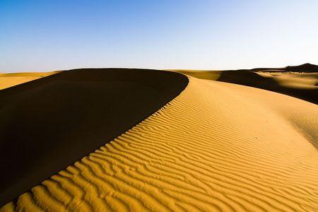 thar: Sand dunes under a clear sky - Thar desert, Rajasthan India