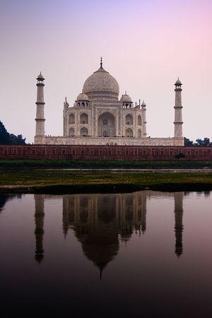 uttar pradesh: The Taj Mahal mausoleum reflecting in the Yamuna river - Agra, Uttar Pradesh, India