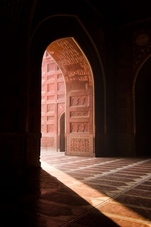 Light entering the Taj Mahal mosque through a doorway - Agra, Uttar Pradesh, India