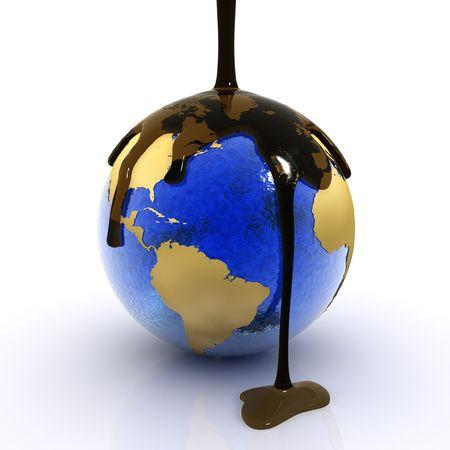 mundo contaminado: Desastre ecol�gico en el planeta tierra (3D)  Foto de archivo