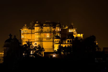 Night view of the City Palace - Udaipur, Rajasthan, India