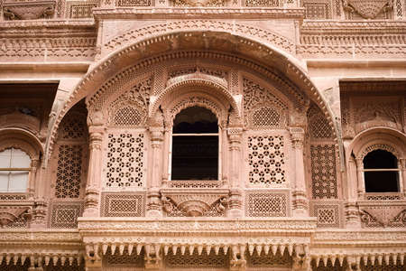 A carved sandstone window frame at the Meherangarh fort - Jodhpur, Rajasthan, India Stock Photo - 2694855