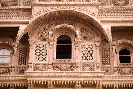 A carved sandstone window frame at the Meherangarh fort - Jodhpur, Rajasthan, India