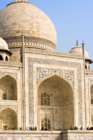 mausoleum: The dome and main entrance of the Taj Mahal mausoleum - Agra, Uttar Pradesh, India