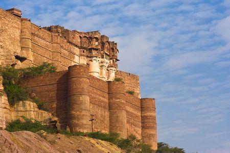 Meherangarh fort dominating the city - Jodhpur, Rajasthan, India Stock Photo