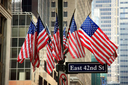 American flags in 42nd street - New York City, USA photo