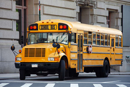 Yellow school bus - Manhattan, New York City, USA Stock Photo - 3311288