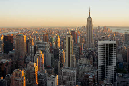 Aerial view of Manhattan cityscape at dusk, from the top of the Rockefeller Center - New York City, USA