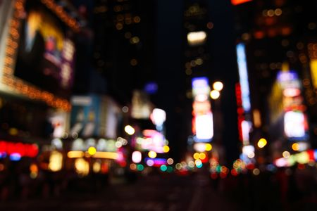 avoid: Abstract view of Times Square lights at night - New York City, USA (defocused to avoid copyright infringements)