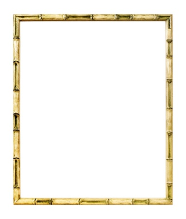 Modern style bamboo picture frame cut out over white background photo