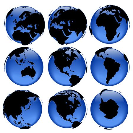 intentionally: Set of rasterized pseudo 3d vector globe views -  land is intentionally moved above the globe surface