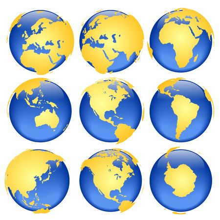 intentionally: Set of rasterized pseudo 3d vector globe views - land is intentionally moved above the globe surface, traditional set of colours
