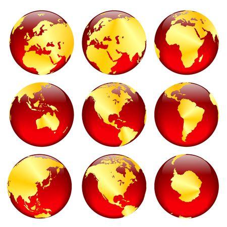 equator: Rasterized pseudo 3d vector golden globe views Stock Photo