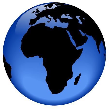 rasterized: Rasterized pseudo 3d vector globe view - Africa continent