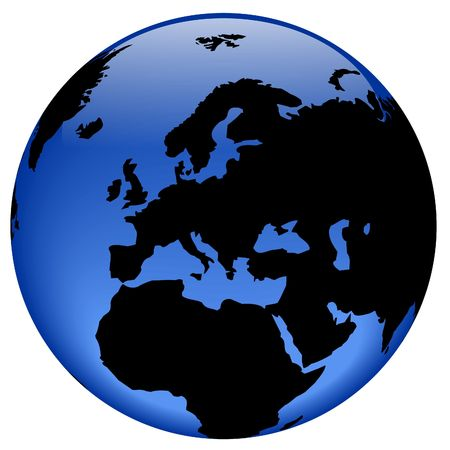 equator: Rasterized pseudo 3d vector globe view - Europe continent Stock Photo