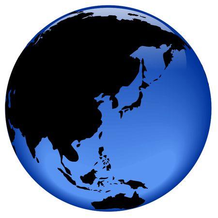 loin: Rasterized pseudo 3d globe vecteur vue - Extr�me-Orient, en Asie (Chine, Japon, Cor�e, etc)